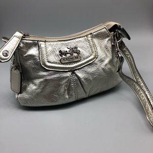 Coach silver metallic leather wristlet
